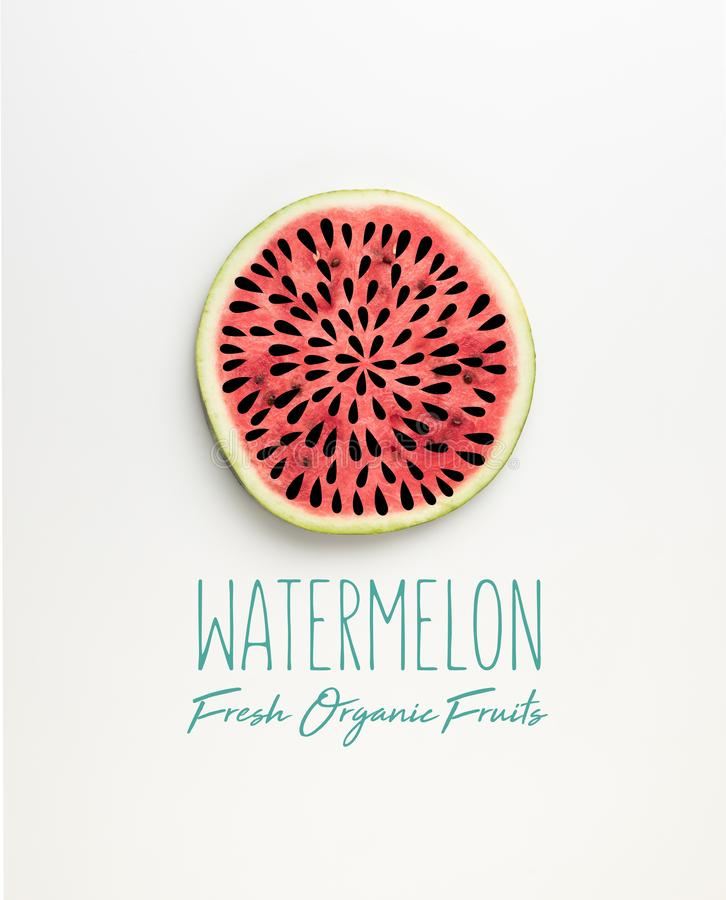 Top view of fresh watermelon slice with seeds illustration and watermelon fresh organic. Fruits lettering stock illustration