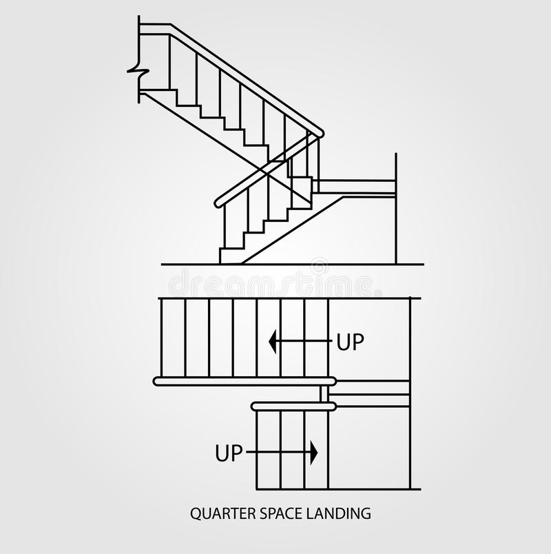 Top view and front view of a quarter space landing stair. Case stock illustration