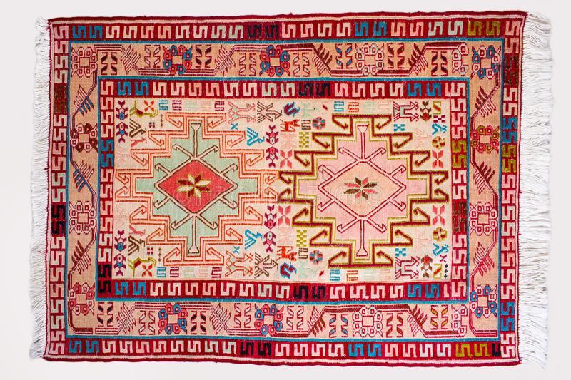 Top view full details of a persian handmade kilim rug showing th stock photo