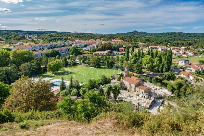 Top view of Galician village Allariz with garden and river. Allariz, a typical vintage village in Galicia. Top view with garden and river stock photography