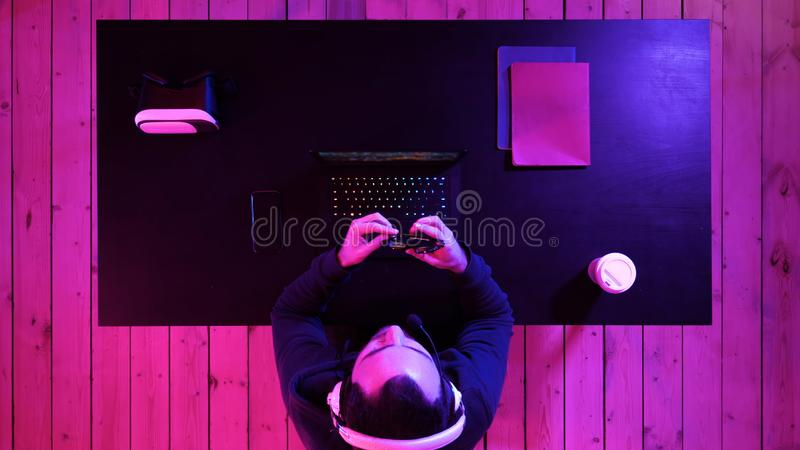 Gamer finished playing game. stock photo