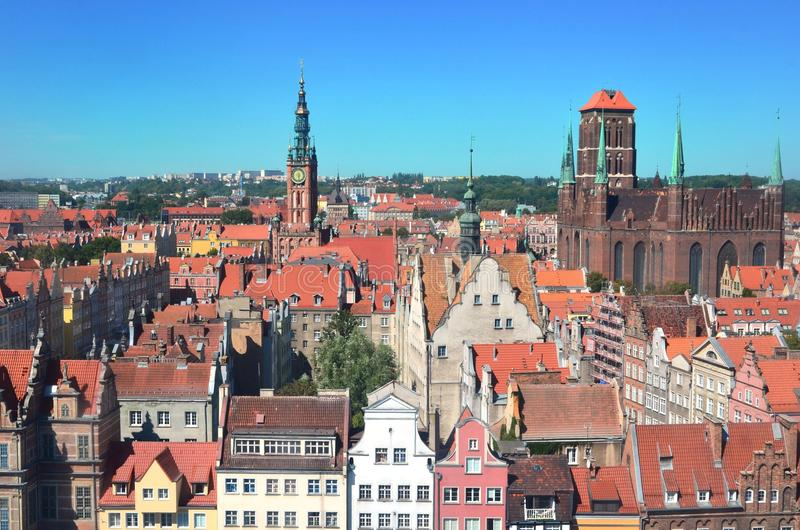Top view on Gdansk (Danzig) old town in Poland royalty free stock photos
