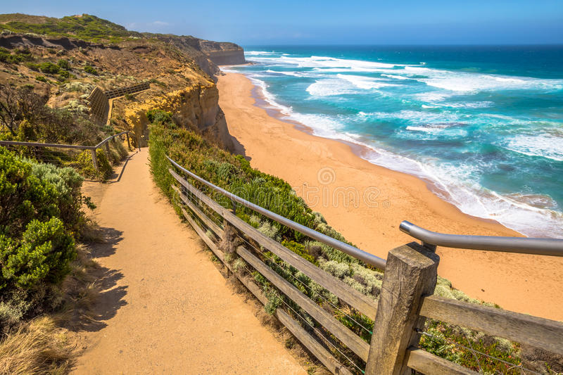 Port Campbell. Top view of Gibson Steps beach in Port Campbell National Park on the Great Ocean Road, Victoria state, Australia royalty free stock photo