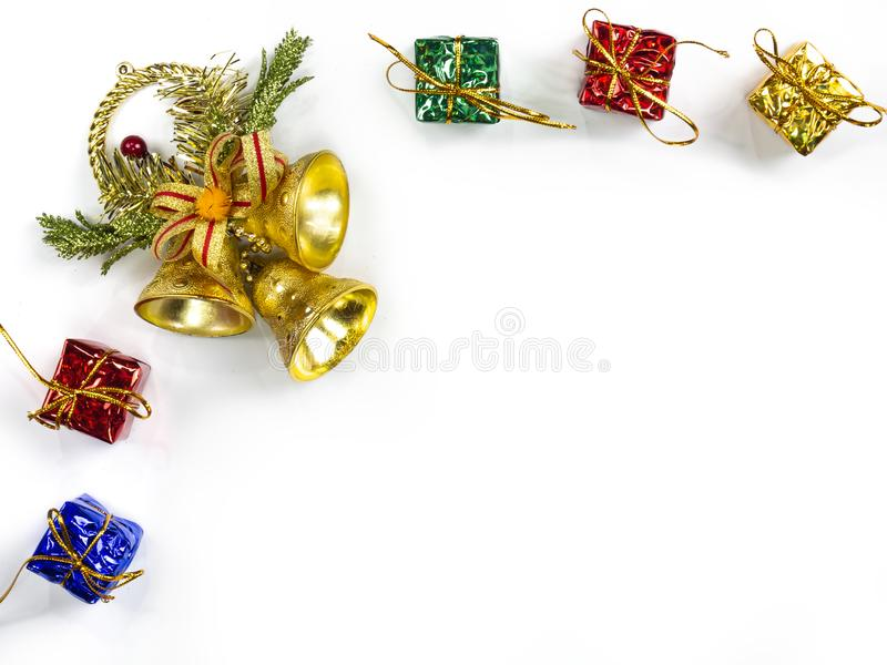 Top view of gifts and star decorations on white background. Christmas holiday concept stock images