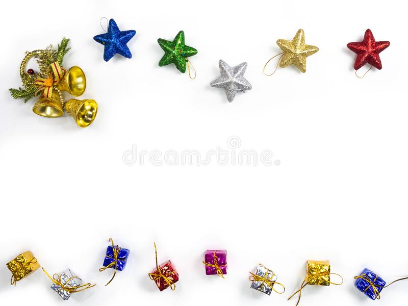 Top view of gifts and star decorations on white background. Christmas holiday concept royalty free stock photography