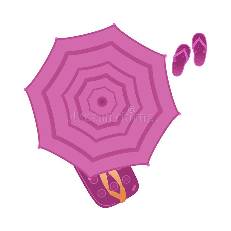 Top view of girl lying on inflatable mattress under beach umbrella and slippers. vector illustration