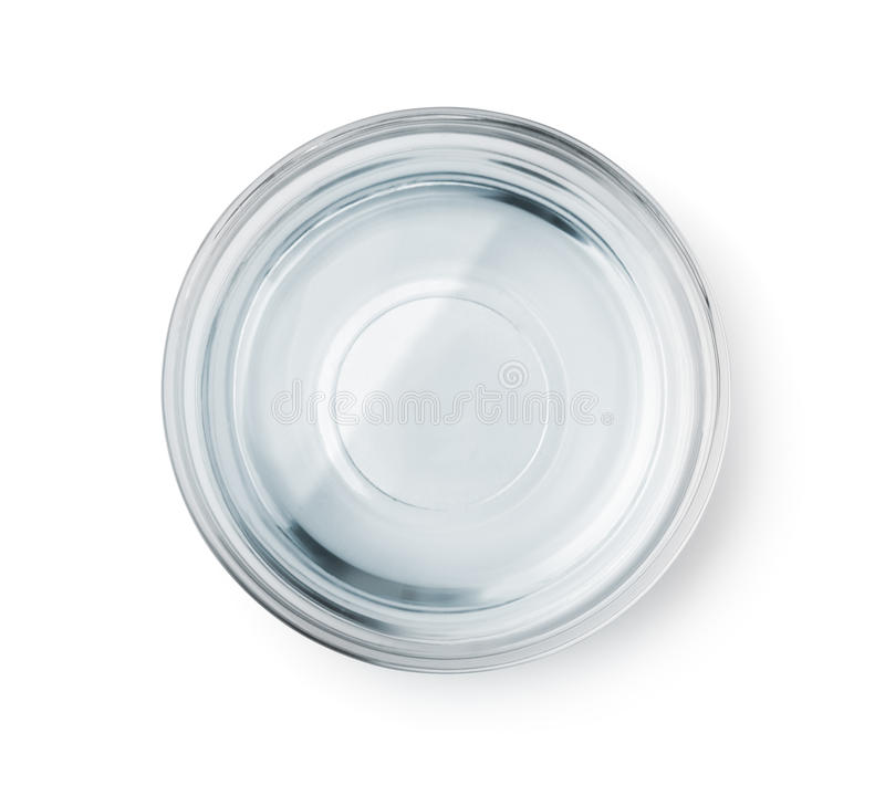 Top view of glass bowl with clear water stock photos