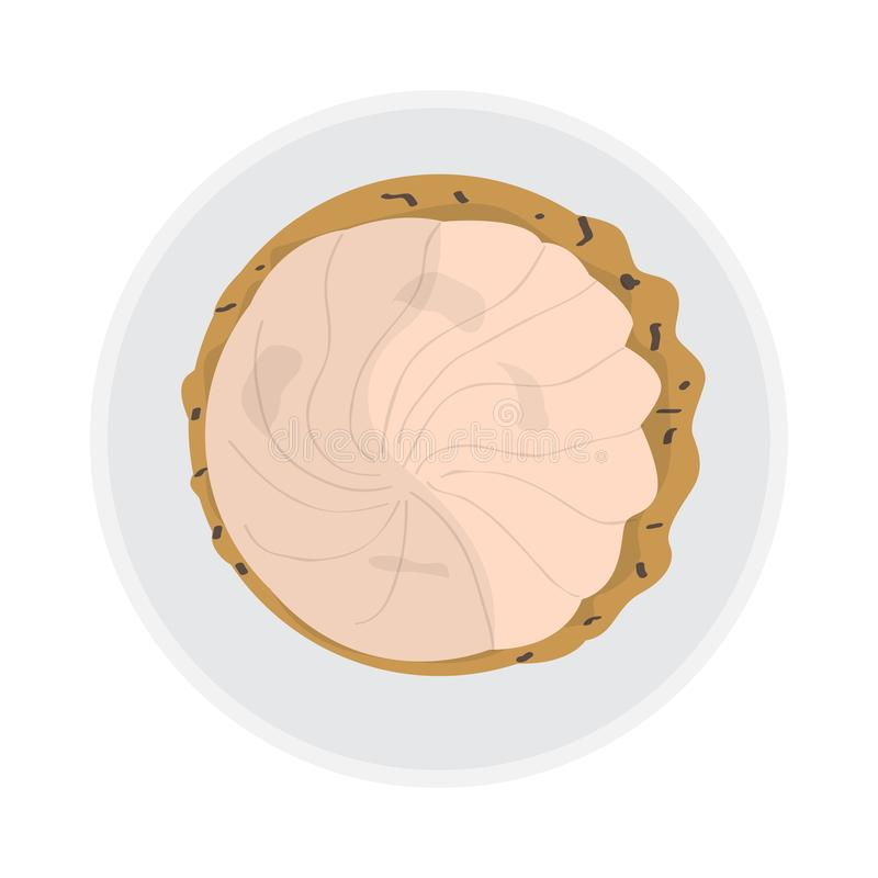 Top view of a glazed cookie. On a plate - Vector royalty free illustration