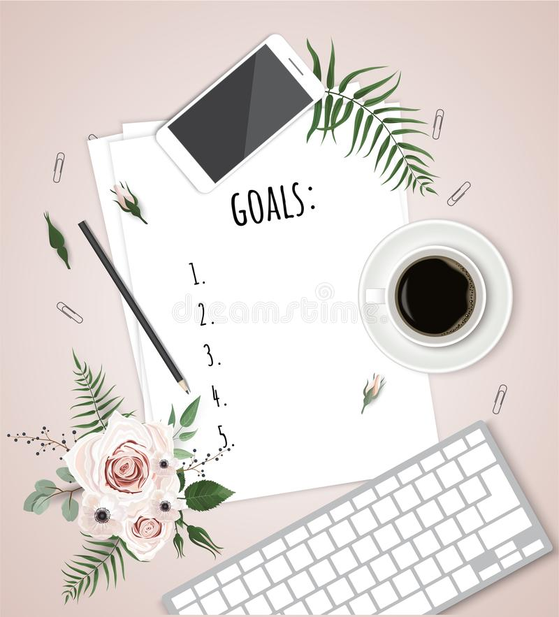 Top view 2018 goals list with notebook, cup of coffee on wooden desk. Vector illustration royalty free illustration