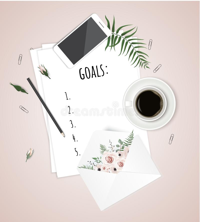Top view goals list with notebook, cup of coffee on wooden desk. Vector illustration stock illustration
