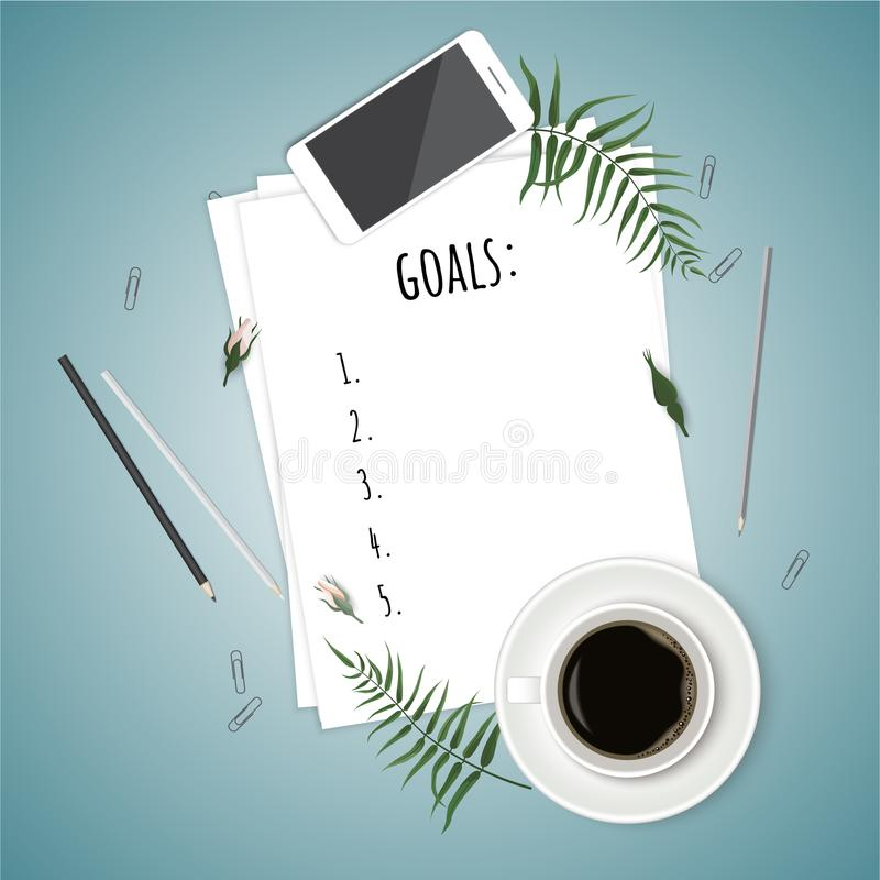 Top view 2018 goals list with notebook, cup of coffee on wooden desk. Vector illustration stock illustration