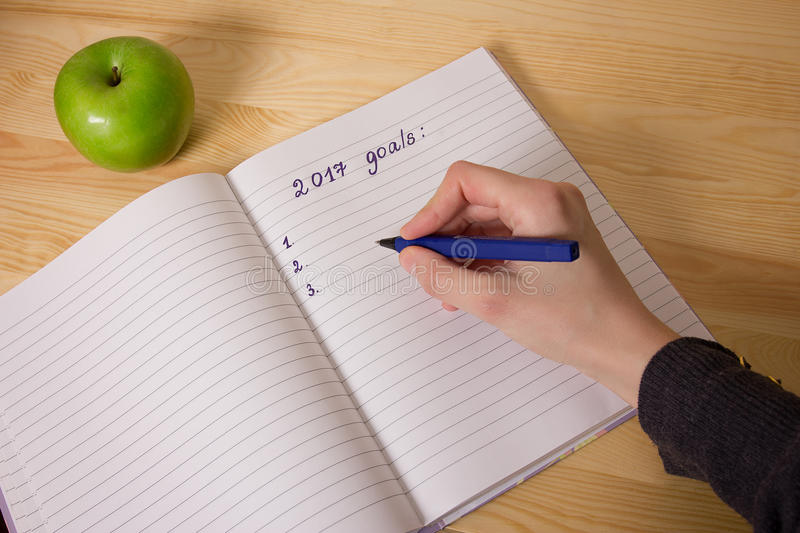 Top view 2017 goals list with notebook, green apple on wooden desktop. Hand writing stock photography