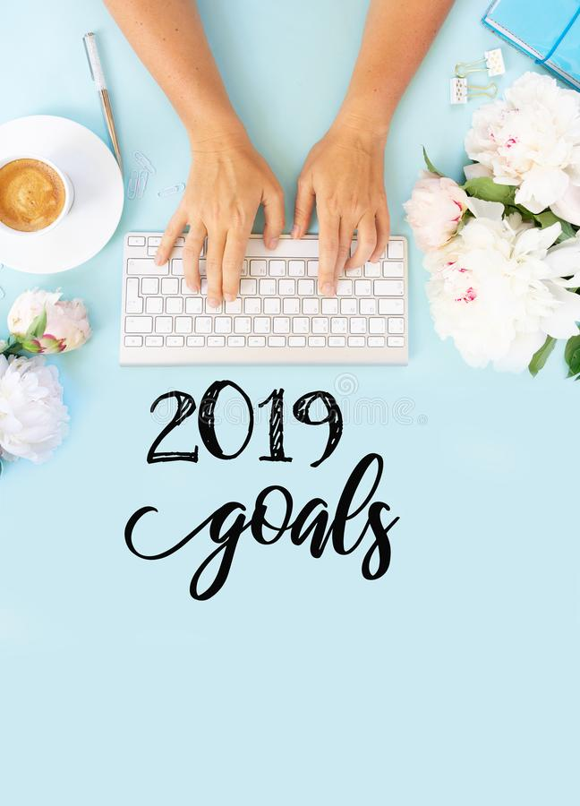 Top view 2019 goals list royalty free stock image