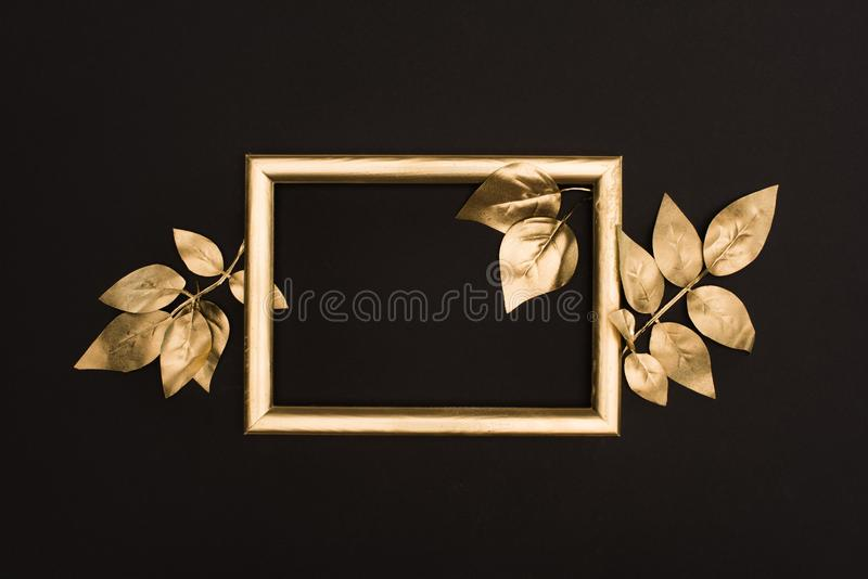 top view of golden photo frame and leaves stock photos