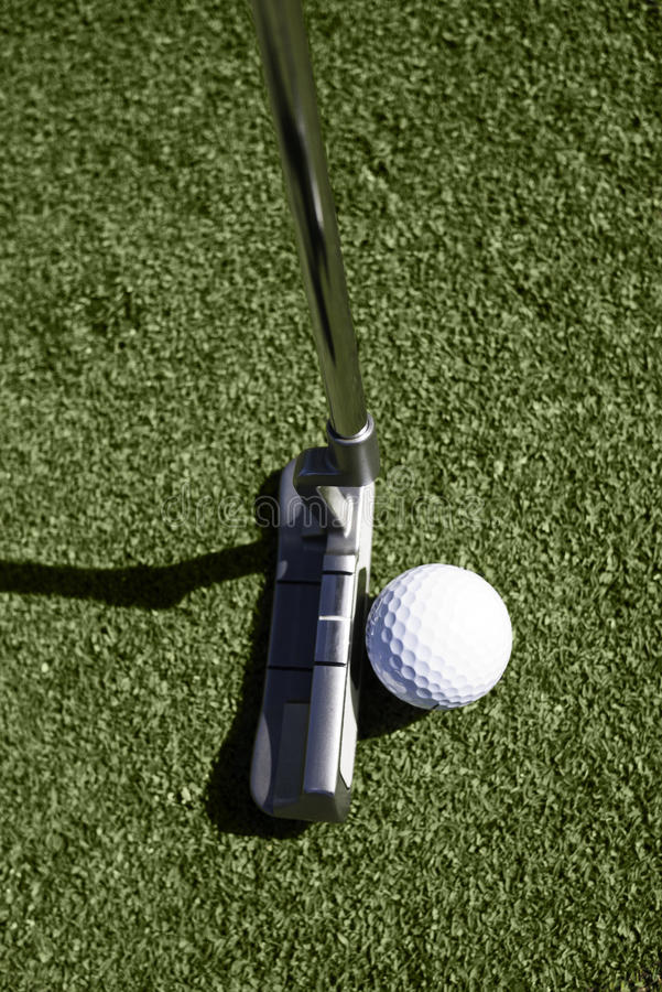 Download Top View Of Golf Ball And Putter Behind Ball Stock Photo - Image: 23229658