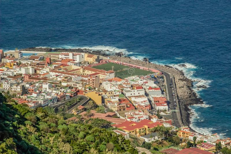Top view of the gorgeous city of Garachico, general trade port in the past. Long focuse lens. Tenerife. Canary Islands.Spain stock photography