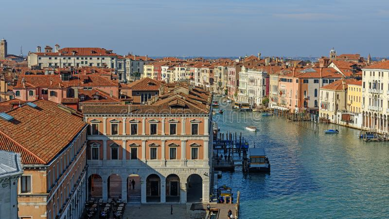 Top view of Grand canal from roof of Fondaco dei Tedeschi. Venice. Italy stock images