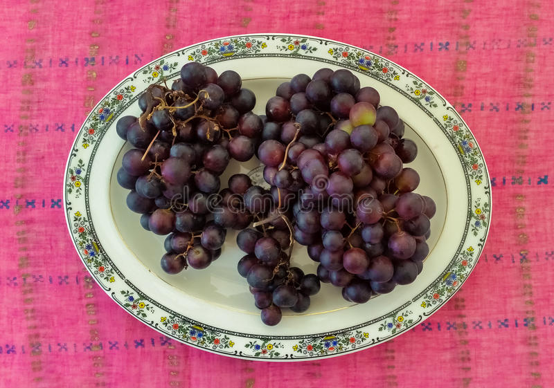 Top View of Grapes. Served in a Plate stock images