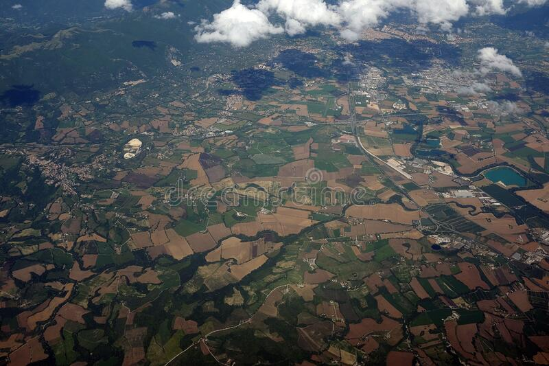 Top View of Green and Brown Field stock photo