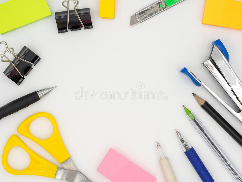 Top view of group colorful stationary tool including pencil, pen stock image