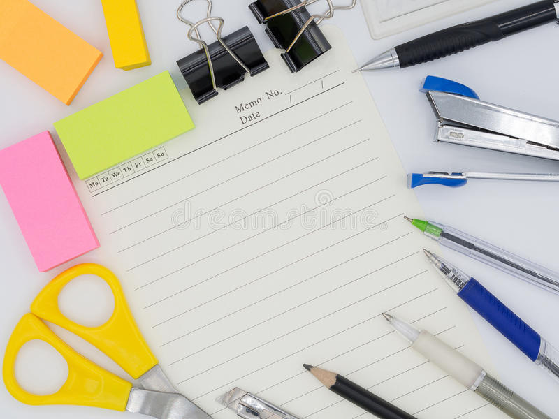 Top view of group colorful stationary tool including pencil, pen royalty free stock photos