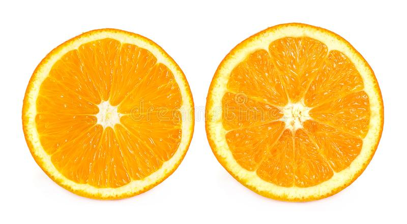 Top view of half orange on white background royalty free stock images