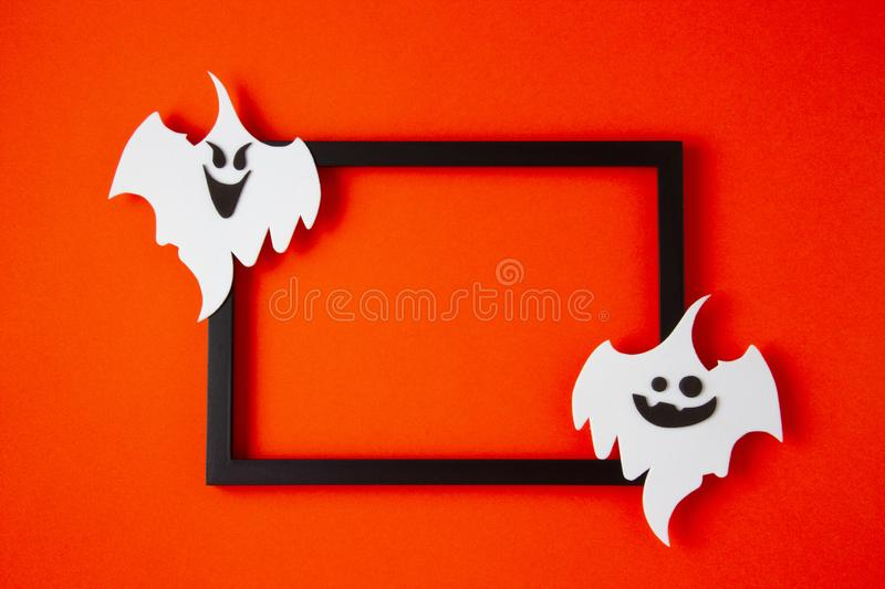 Top view of Halloween decoration with plastic bats. Party, invitation, halloween decoration. Top view of Halloween decoration with ghosts. Party, invitation stock images