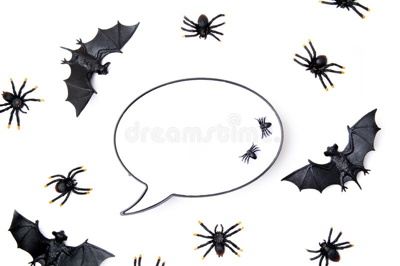 Top view of Halloween decoration with plastic bats. Party, invitation, halloween decoration. Top view of Halloween decoration. Party, invitation, halloween royalty free stock image