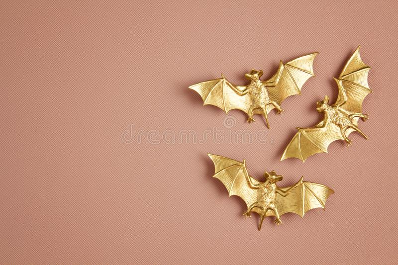 Top view of Halloween decoration with plastic bats. Party, invitation, halloween decoration. Concept royalty free stock photo