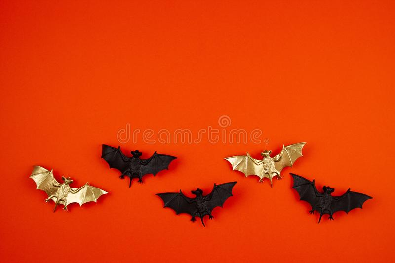 Top view of Halloween decoration with plastic bats. Party, invitation, halloween decoration. Concept stock image