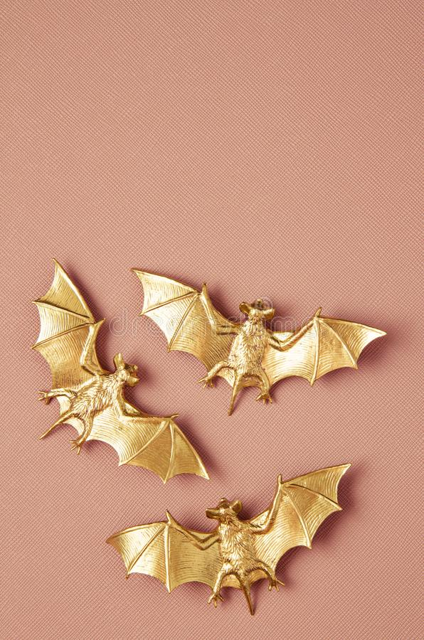 Top view of Halloween decoration with plastic bats. Party, invitation, halloween decoration. Concept stock photography