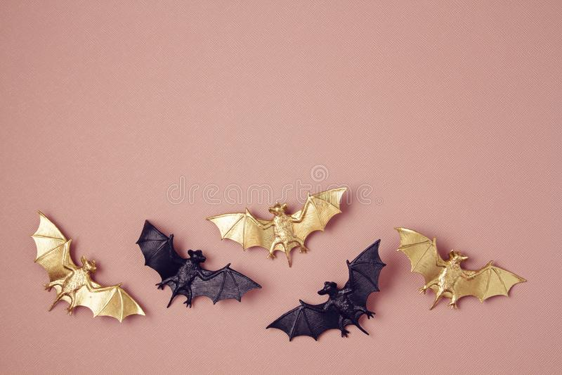 Top view of Halloween decoration with plastic bats. Party, invitation, halloween decoration. Concept stock photo