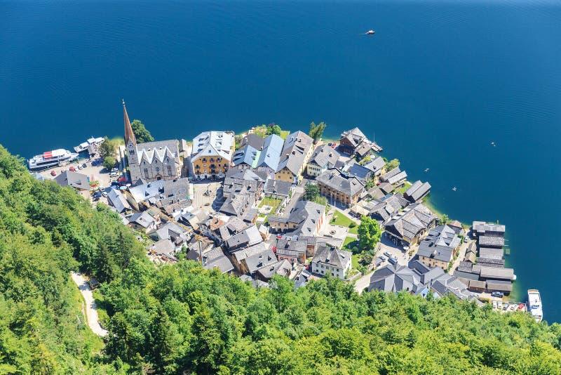 Top view of Hallstatt - beautiful Alpen village royalty free stock photo