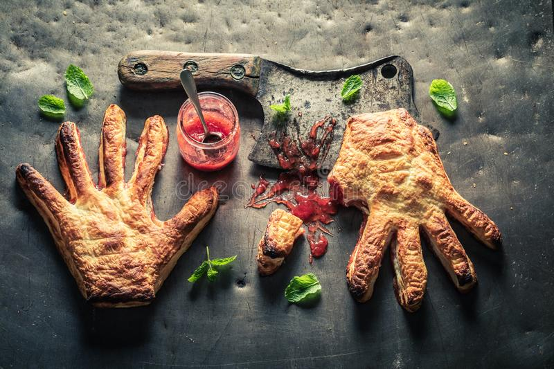 Top view of hand cake as concept of liking. On wooden table royalty free stock photography