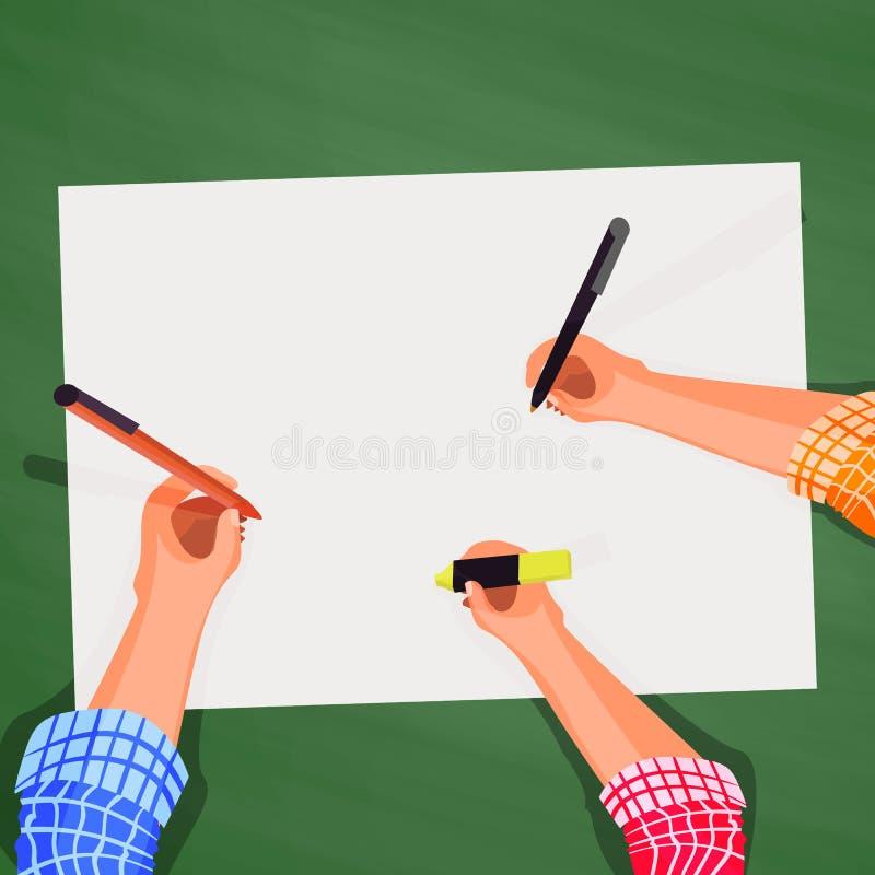 Top view, hands on the desktop. Business team background vector illustration