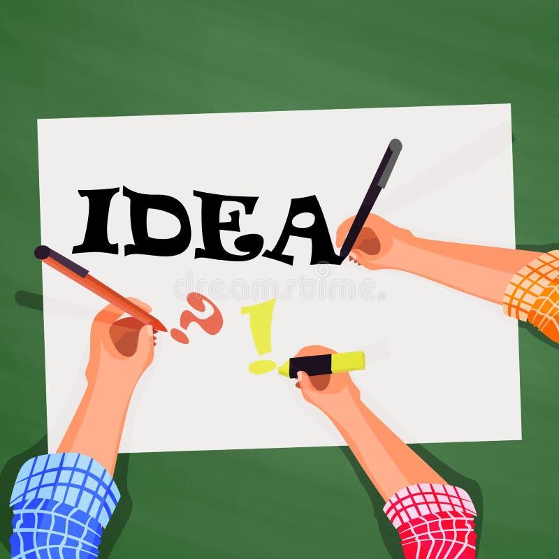 Top view, hands on desktop, look for idea. Top view, hands on the desktop, look for the idea of a business team background vector illustration