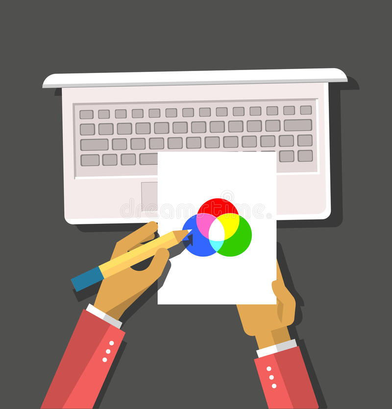 Top view Hands Hold Color Model. Top view element designer programmer hands hold color model and laptop flat design background. Design concept. Hands with pencil royalty free illustration
