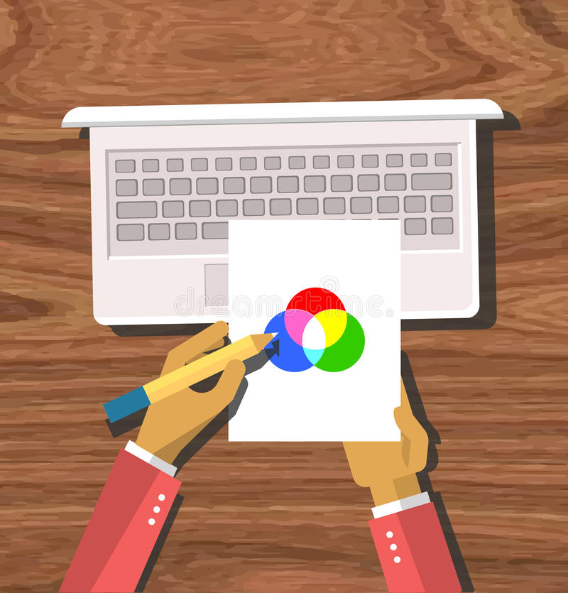 Top view Hands Hold Color Model. Top view element designer programmer hands hold color model and laptop flat design on wood background. Design concept. Hands stock illustration