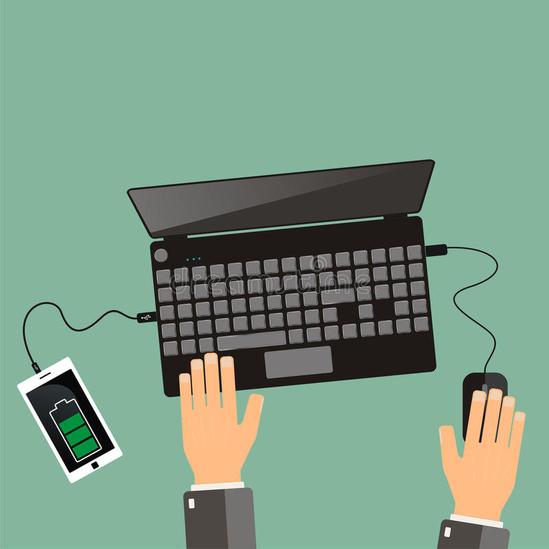 Top view. hands and laptop with connected smartphone. stock illustration