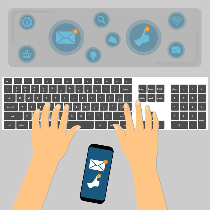 Top view of hands using keyboard with the smartphone between them. Internet concept stock illustration