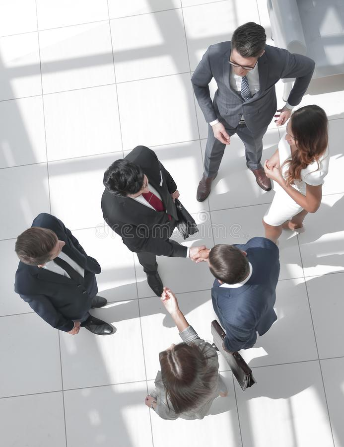 Top view. handshake business partners at the meeting stock photos