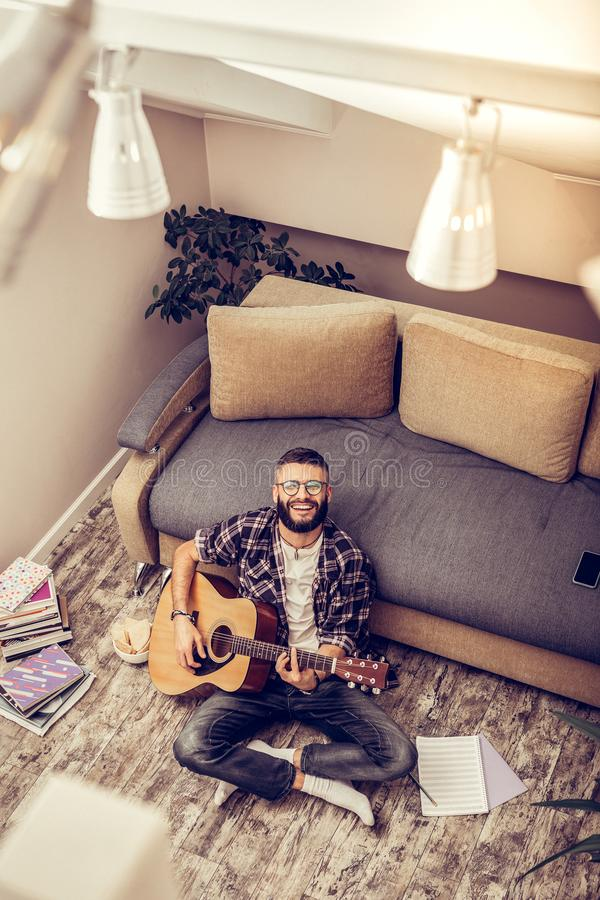 Top view of a handsome talented musician stock photos