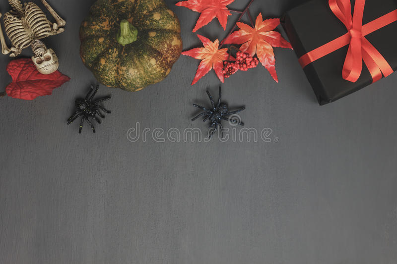 Top view of Happy Halloween Festival background concept. stock photo