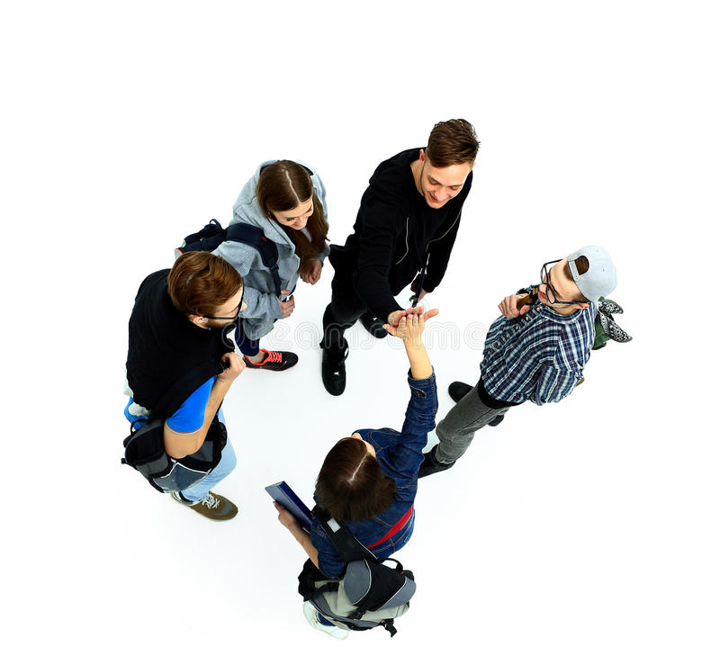 Top view. Happy smiling young group stock photography