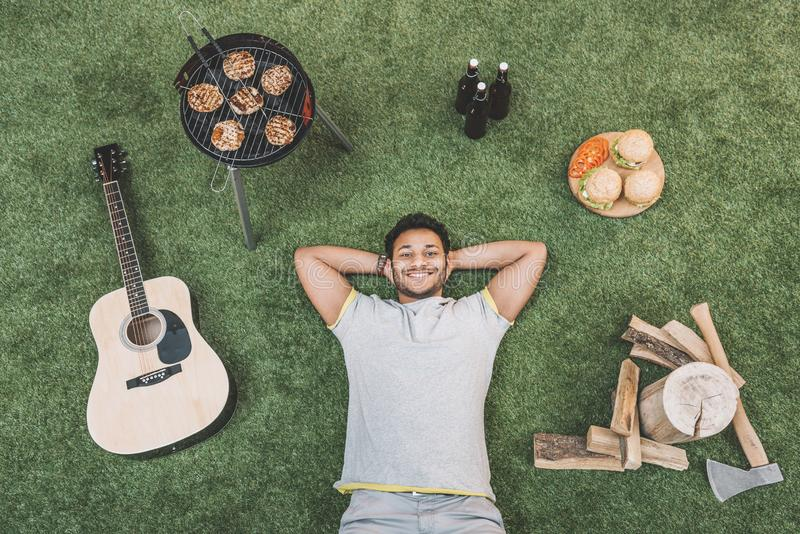 Top view of happy young man stock photography