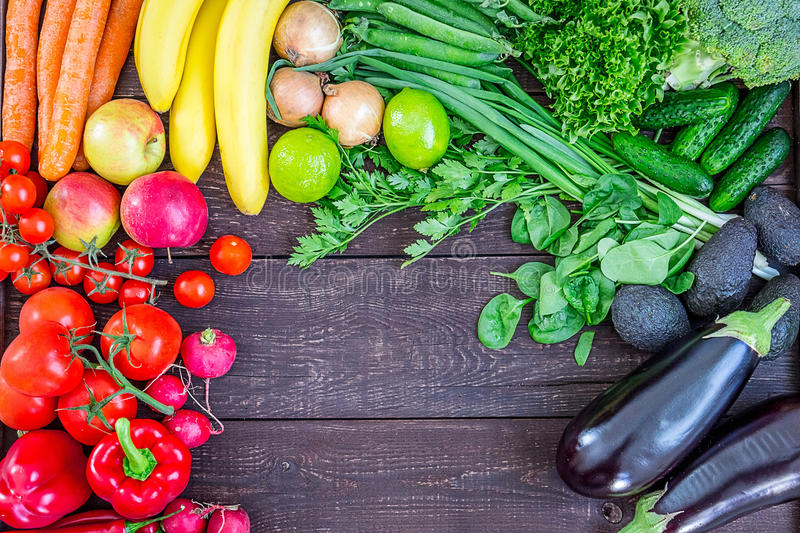 Download Top View Of Healthy Eating Background With Colorful Fresh Organic Vegetables And Herbs, Healthy Food From Garden, Diet Or Vegetari Stock Photo - Image: 72347500