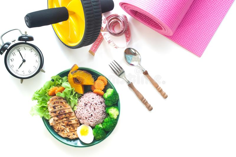 Top view of healthy food, Steam rice berry with grilled chicken royalty free stock photo