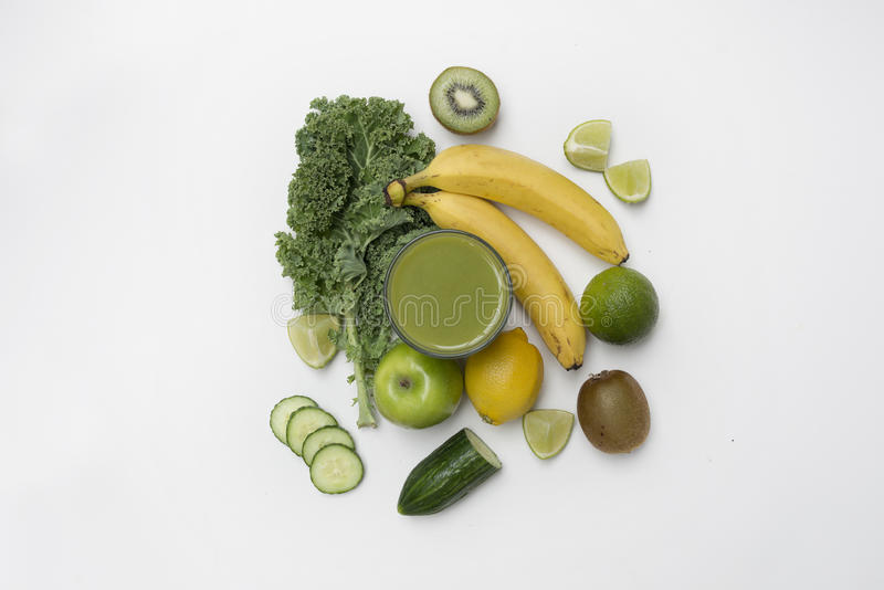Top View of a Healthy Smoothie made with Fruit and Veg royalty free stock image