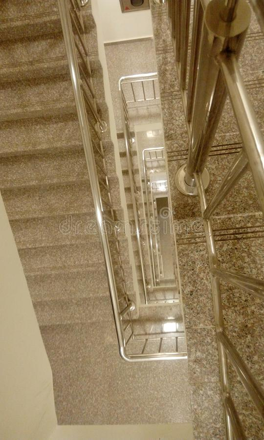 Top view of high rise building staircase with tred and risers royalty free stock photography