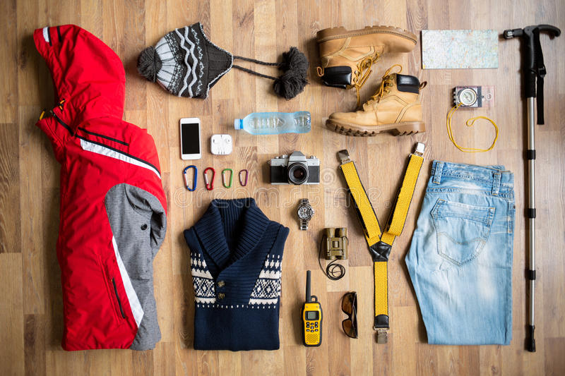Top view of hiking equipment royalty free stock images